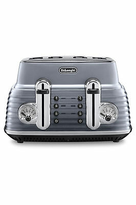 NEW Delonghi CTZ4003GY Scultura 4 Slice Toaster: Steel Grey