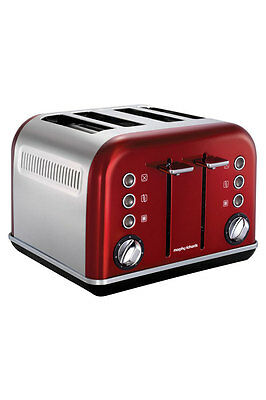 NEW Morphy Richards 242020 Accents 4 Slice Toaster: Metallic Red