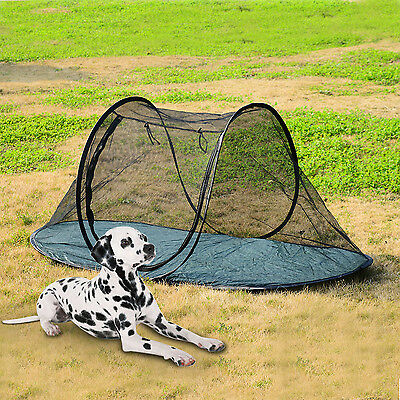 Folding Pet Tent Fence Dog Cat Camping Mesh Funhouse Playing Exercise Bed w/ Bag