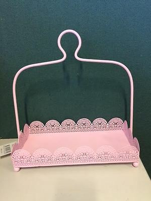 Rectangle Pink Laser Cut Metal 1 Tier Cake Stand