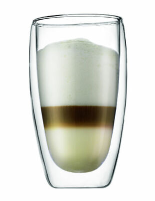 NEW Bodum Pavina Double Wall Glasses, Set of 2, 450ml White