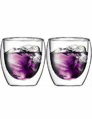 NEW Bodum Pavina Double Wall Latte Glasses, Set of 2, 250ml White