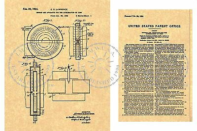 '34 Cyclotron ATOM SPLITTER/Smasher Particle Accelerator Steampunk PATENT PM#934