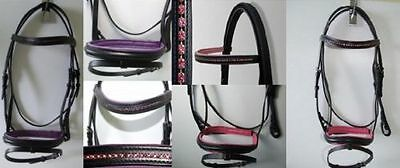 Diamante Flash Bridle with Rubber Reins - all colours Bling