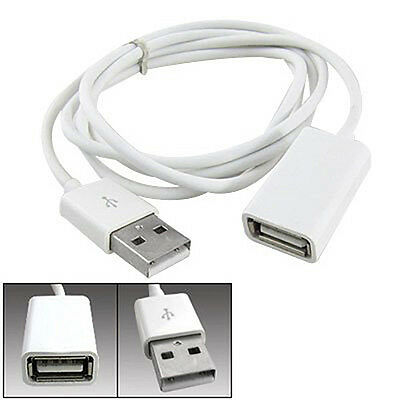 Sightly White PVC Metal USB 2.0 Male to Female Extension Adapter Cable Cord