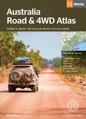 Hema Maps Australia Road & 4WD Atlas 12th Ed 188 New Maps Perfect Bound