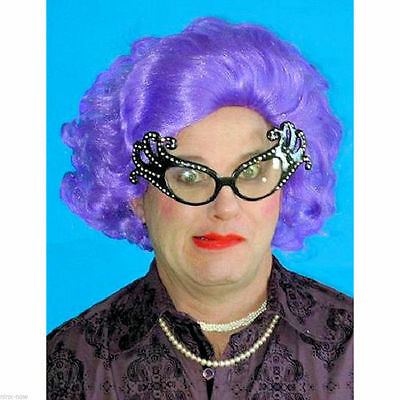 Dame Edna Purple Wig and Glasses SET Fancy Dress Costume Accessory