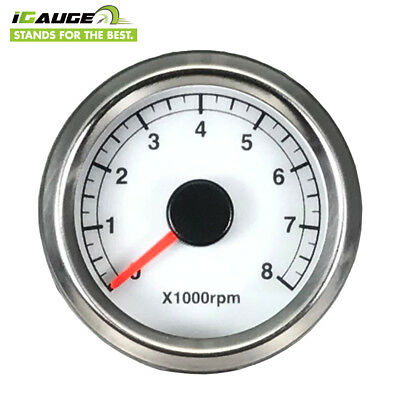 Tachometer Motorcycle White Face Electrical 48 mm 0-8000 RPM 8.3 Hz Taiwan Made