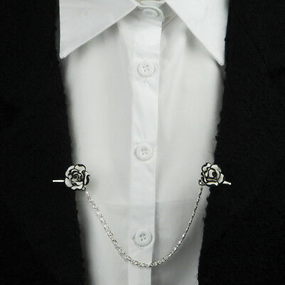 """Evelots Black & White Flower Sweater Clip With 6"""" Chain, Stylish Vintage"""