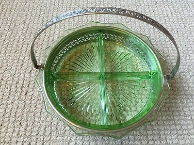 Vintage Depression-Era Vaseline Glass Divided Tray w/Nickel-Plated Carry Tray