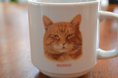 Vintage MORRIS CAT Coffee Mug Cup White Decorated By Papel Kitty