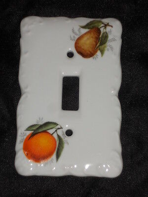 "Ceramic Switch Plate 3 1/4"" X 5"" With Orange And Pear Nice Lot Sss"