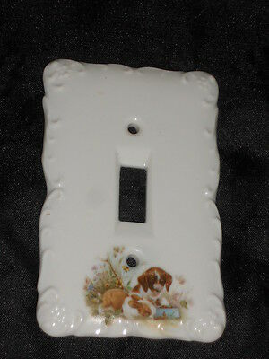 "Ceramic Switch Plate 3 1/4"" X 5"" With Dog Nice Lot 3"