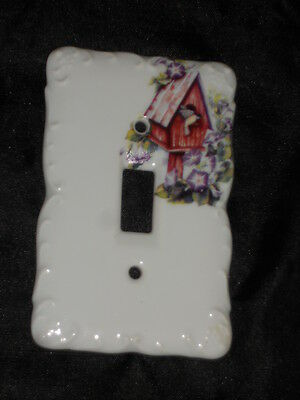 "Ceramic Switch Plate 3 1/4"" X 5"" With Bird And Birdhouse Nice Lot 10"