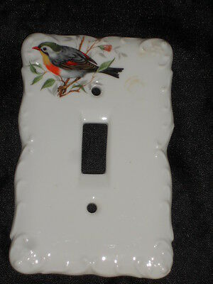 "Ceramic Switch Plate 3 1/4"" X 5"" With Bird Nice Lot 21"
