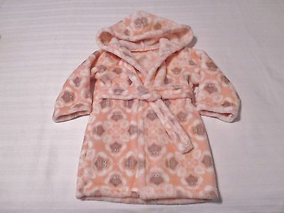 Blankets & Beyond Peach & Gray Owl Print Baby Girls Hooded Robe NO Size Listed