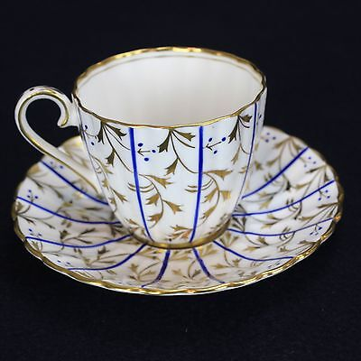 English Bone China Royal Chelsea Teacup & Saucer, Blue and Gold, Hand Decor.