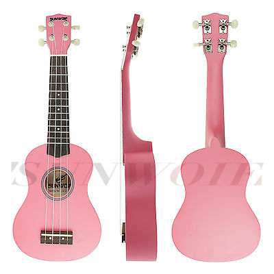 Ukulele Uke Four Strings for Starters Musical Instrument Pink With Free Bag