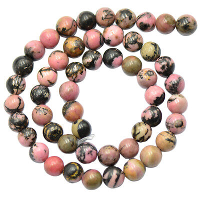 Natural 8mm Rhodonite Round Gemstone Loose Beads Strand Jewelry Making 15""