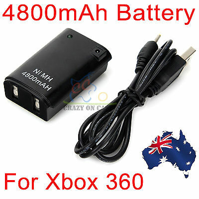 Xbox 360 Rechargeable 4800mAh Battery Pack Wireless Controller USB Charger Cable