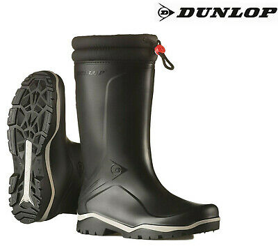 Dunlop Blizzard Warm Fleece-Lined Padded Collar Wellington Wellies Boots Black