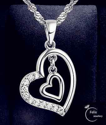 Double Heart Pendant 925 Sterling Silver Jewellery Necklace Chain Women gifts