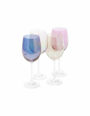 NEW Vue 'Harlequin Lustre' Wine Glass Set of 4 Multicolour
