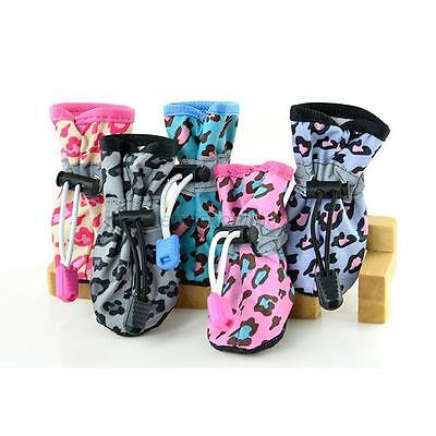 4Pcs Dog Cat Rain Protective Boots Waterproof Puppy Pet Anti-Slip Shoes Booties