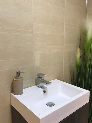 Multi Tile Sahara 8mm Wet Wall Plastic Shower Panels Bathroom Cladding PVC