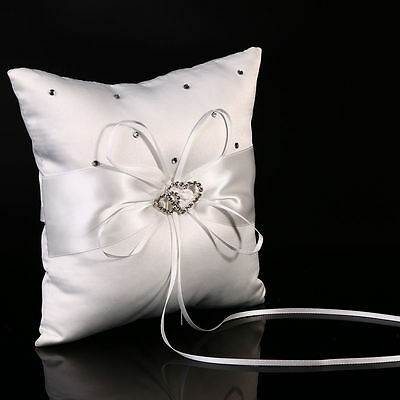 White Bridal Wedding Ceremony Ring Bearer Pillow Cushion Crystal Double Heart