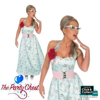 50s BLUE POLKA DOT DAY DRESS COSTUME Ladies Vintage Fancy Dress Outfit 2760