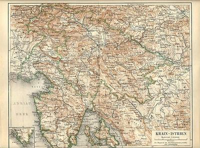 Carta geografica antica TRIESTE ISTRIA CROAZIA Croatia 1890 Old antique map