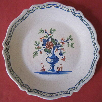 assiette faience 19 eme Pouplard Beatrix pot fleuri bouquet