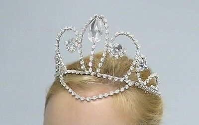Silver AB Crystals Princess Pro. Ballet Costume Tiara Crown Headdress Headpiece