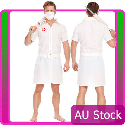 Mens Twisted Joker Nurse Costume Batman Fancy Dress Halloween Doctor Uniform