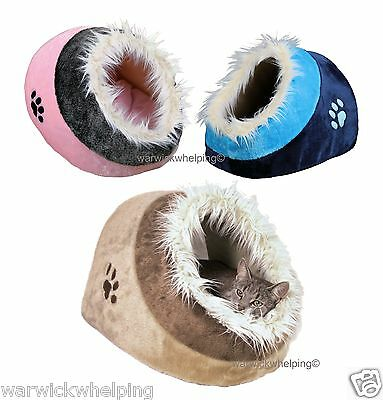 Cat / Kitten  or Puppy Small Dog Cave Bed Minou cuddly pink blue beige lilac