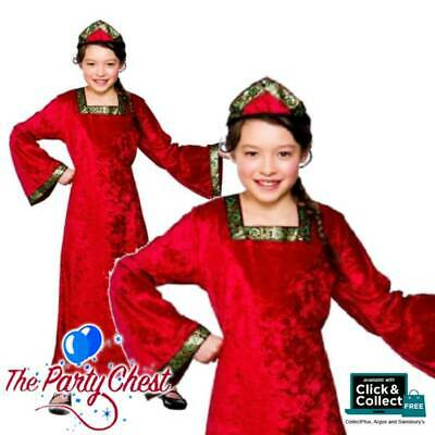 Girls Tudor Princess Medieval Kids Book Week Shakespeare Fancy Dress Costume 565