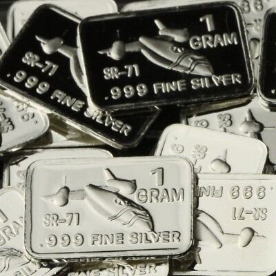 Lot of 30 X 1 Gram  .999  Fine Silver Bar / SR-71 Blackbird  WPT454 oz