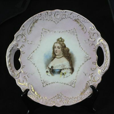 Antique Austrian Victoria Carlsbad China portrait plate: Marie Therese, ca. 1900