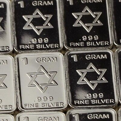 Lot 30 X 1 Gram  .999  Fine Silver Bar Bullion  / Star of David    L5WPT400 oz