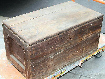 "Antique Primitive Wooden Chest Trunk Tool Box With Tray Storage 29"" X 16"""