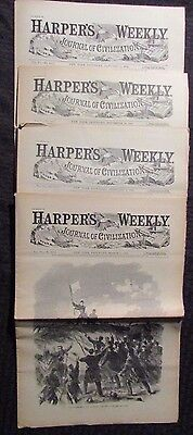 1861/62 Harper's Weekly Journal Newspaper Reissue LOT of 4 FN- 1/11 2/8 3/1 11/1