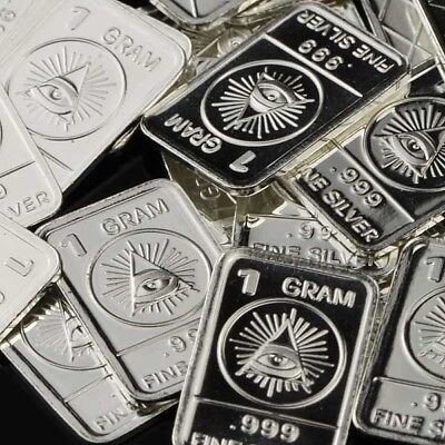The All-seeing Eye / Lot of 30 X 1 Gram .999 Fine Silver Bar Bullion WPT349 oz