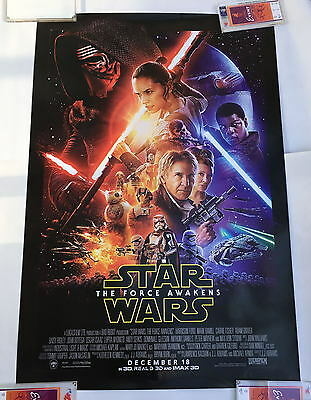"""RARE VERSION STAR WARS THE FORCE AWAKENS DOUBLE SIDED 27""""x40"""" MOVIE POSTER"""