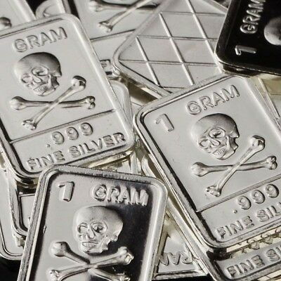 Lot Lot of 30 X 1 Gram  .999  Fine Silver Bar /  Skull and Bones   WPT342 oz