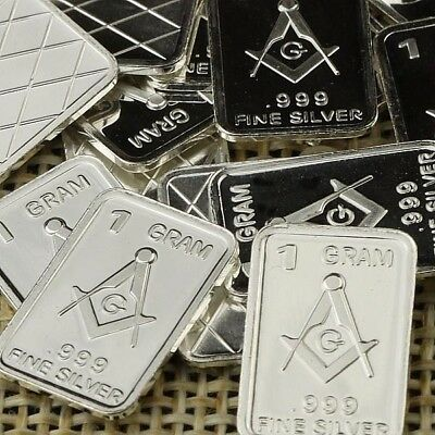 Lot Lot of 30 X 1 Gram  .999  Fine Silver Bar Bullion  / Freemasonry  WPT347 oz