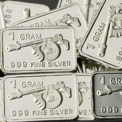 Lot Lot of 30 X 1 Gram .999  Fine Silver Bar / Thompson submachine gun WPT449 oz