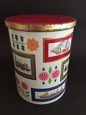 VINTAGE Rileys Toffee Tin - Train Ship Flower Graphics