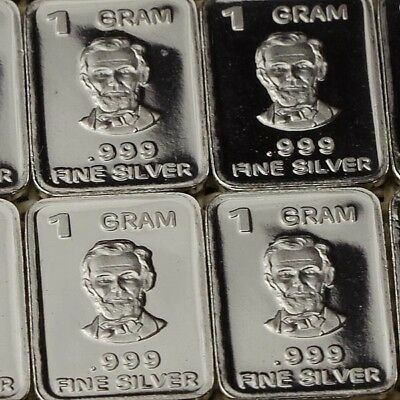 Lot 30 X 1 Gram  .999  Fine Silver Bar Bullion  / Abraham Lincoln  WPT369 oz