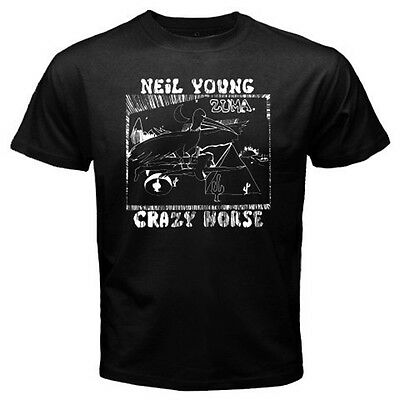 New Neil Young Crazy Horse Zuma Rock Music Men's Black T-Shirt Size S to 3XL
